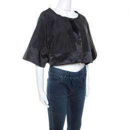 Temperley Black Cotton and Satin Trim Palais Bolero XXL 247705