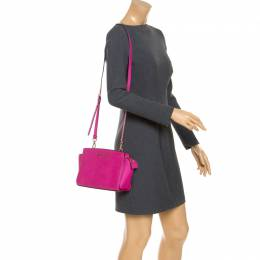 MICHAEL Michael Kors Hot Pink Saffiano Leather Selma Crossbody Bag
