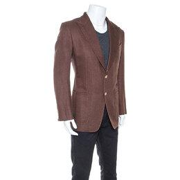 Tom Ford Brown Silk Linen Blend Deconstructed Blazer L 247480