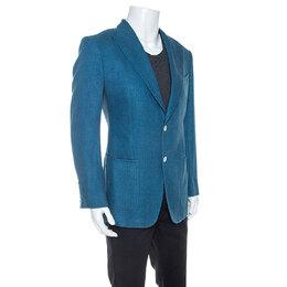 Tom Ford Blue Silk Linen Blend Blazer L 247487
