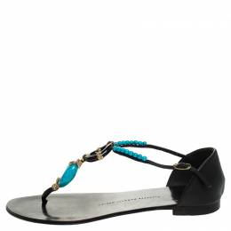 Giuseppe Zanotti Design Black Leather Turquoise Beaded Ankle Strap Thong Sandals Size 38.5