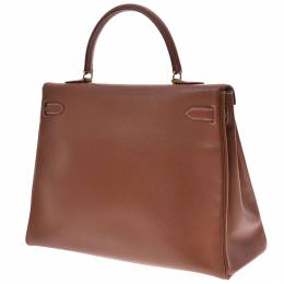 Hermes Brown Courchevel Leather Kelly 35 Bag 247272