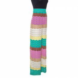 M Missoni Multicolor Lurex Pointelle Knit Wide Leg Pants L 246255