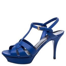 Saint Laurent Paris Blue Leather Tribute Platform Ankle Strap Sandals Size 40 248136