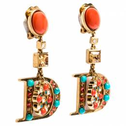Dior Gold Tone Crystal and Beads Drop D Clip-on Earrings 246232