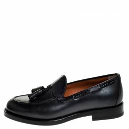Santoni Grey Leather Tassel Detail Slip On Loafers Size 44
