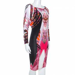 Roberto Cavalli Multicolor Printed Stretch Knit Midi Dress S 247947