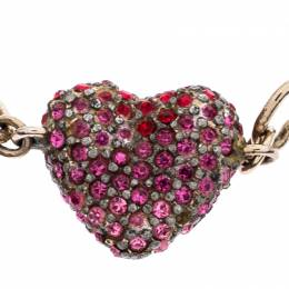 Dior Silver Tone Pink & Red Crystal Studded Heart Charm Bracelet 245717