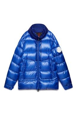 Синий пуховик с карманами Moncler 34167387