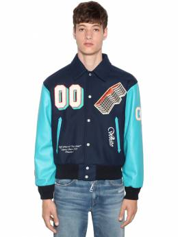 Varsity Leather Bomber Jacket Off-White 71ILFA050-MzI4OA2