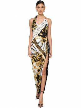 Slit Printed Stretch Jersey Dress Versace 71IA86021-QTcwMDE1