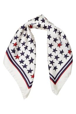 Шелковый платок с красно-синими звездами Moncler 34166340