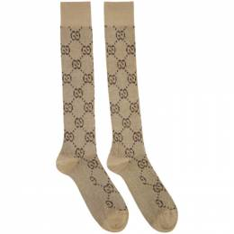 Gucci Beige and Brown GG Supreme Socks 476525 3G199