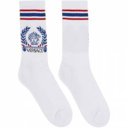 Versace White and Blue Medusa Laurel Socks ICZ0003 A233179