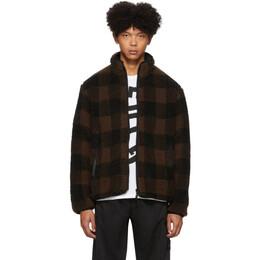 John Elliott Reversible Brown and Black Polar Fleece Buffalo Check Zip-Up Jacket 192761M18001002GB