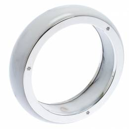 Montblanc Les Aimants by Charlotte Casiraghi White Resin Sterling Silver Bangle Bracelet Size 64 246782