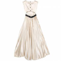 Alice + Olivia Beige Satin Pleated Cut Out Back Detail Maxi Dress XS