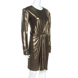 Saint Laurent Paris Gold Stretch Knit Gathered Waist Detail Dress M