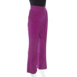 Diane Von Furstenberg Pink Printed Silk Petunia Flared Pants M 248076