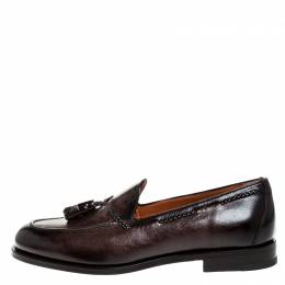 Santoni Brown Leather Tassel Detail Slip On Loafers Size 42