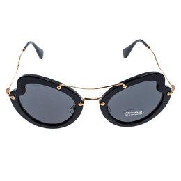 Miu Miu Black/Grey SMU 11R Butterfly Sunglasses
