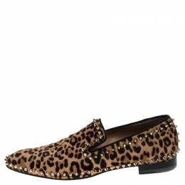 Christian Louboutin Leopard Print Calf Hair Spike Slip-On Size 42