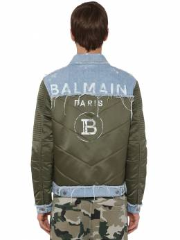 Print Cotton Denim & Nylon Down Jacket Balmain 71IS3N046-N1VB0