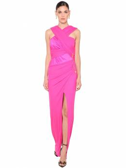 Cross Drape Stretch Jersey Dress W/ Slit Versace 71IA86020-QTE3MDg1