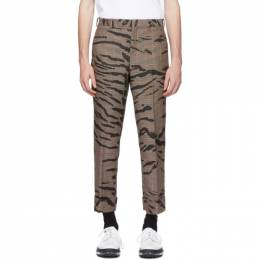 Neil Barrett Black and Beige Check Tiger Slim Tube Trousers 192368M19101901GB