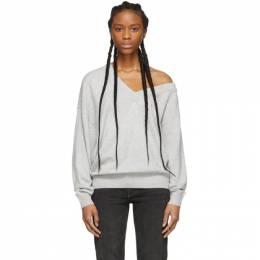 Alexander Wang Grey Wool Asymmetrical V-Neck Sweater 201187F10024204GB
