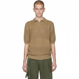 Marni Beige Knit Ajour Stripe Polo 201379M21200303GB