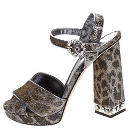 Dolce&Gabbana Silver/Gold Glitter Fabric Brooch Buckle Ankle Strap Block Heel Sandals Size 40