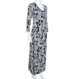 Diane Von Furstenberg Monochrome Printed Silk Jersey Julian Wrap Dress M 247859