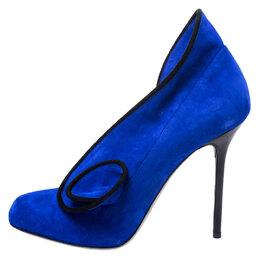 Sergio Rossi Blue Suede Tortousa Swirl Detail Round Toe Pumps Size 38.5 248824