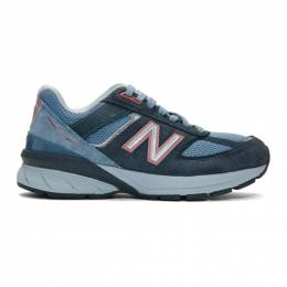 New Balance Blue US Made 990 v5 Sneakers 201402F12800202GB