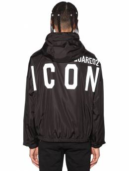 Hooded Print Icon Logo Nylon Jacket Dsquared2 71IS3C010-OTAw0