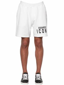 Print Icon Logo Cotton Jersey Shorts Dsquared2 71IS3C007-MTAw0