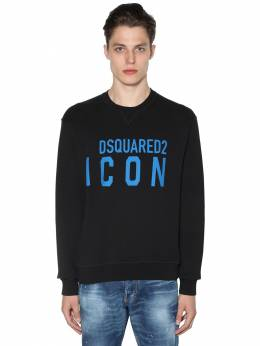 Print Icon Logo Cotton Jersey Sweatshirt Dsquared2 71IS3C004-OTg40