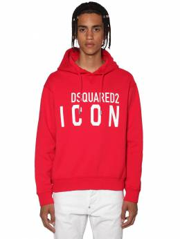 Printed Icon Logo Cotton Jersey Hoodie Dsquared2 71IS3C003-MzA30