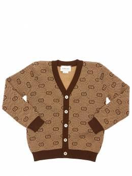 Logo Jacquard Wool Blend Cardigan Gucci 71ILAR006-MjA5NA2