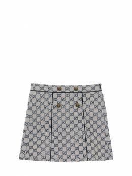 Logo All Over Cotton Canvas Mini Skirt Gucci 71ILAP012-OTMxOA2