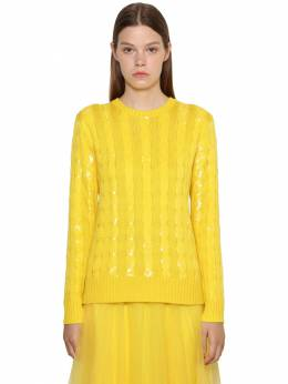 Sequined Cable Silk Knit Sweater Ralph Lauren Collection 71IKOQ024-MDAx0