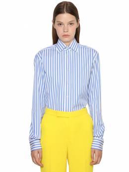 Striped Cotton Poplin Boyfriend Shirt Ralph Lauren Collection 71IKOQ023-MDAx0