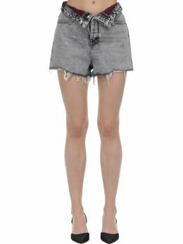 Fold-over Cotton Denim Shorts Alexander Wang 71I5BR092-OTE30