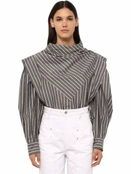 Welly Striped Cotton Blend Poplin Shirt Isabel Marant 71I1JT012-MDJBTg2