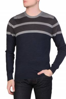Темно-синий свитер с серыми полосками Armani Jeans 1742167266