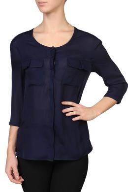 Приталенная синяя блуза с карманами Emporio Armani 2706167274