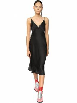 Satin Midi Dress W/ Metal Chain Straps Paco Rabanne 71IMDQ024-UDAwMQ2