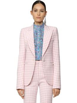 Checked Wool Gabardine Blazer Jacket Paco Rabanne 71IMDQ020-TTY4Mw2
