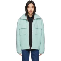 Helmut Lang Blue Wool Oversized Teddy Jacket 201154F06301401GB